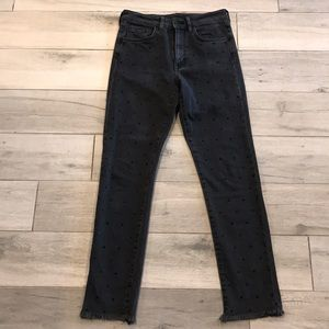 Zara Studded Black Denim Skinny Jeans